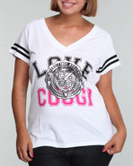 Coogi Women V-neck Love Coogi Tee W/flocking (PLUS