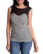 Women Jeweled Shoulder Illusion Striped Top Cream