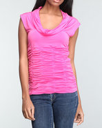 Women Rouched Cowl Neck Top Pink Medium