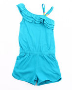 Girls One Shoulder Romper (7-16) Teal 14/16 (L)