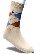Men Green Croc Argyle Novelty Crew Socks Beige
