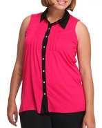 Women Sleevless High Low Color Top (Plus) Pink 1X