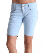 Women 3 Button Bermuda Jean Short Blue 1/2