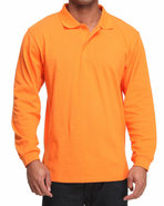 Men Long Sleeve Pique Polo Orange Medium