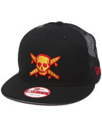 Men Street Pirate New Era Mesh Snapback Cap Black