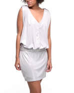 Women Dolman Tie Waist Dress Silver Small