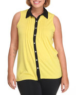Women Sleevless High Low Color Top (Plus) Yellow 3