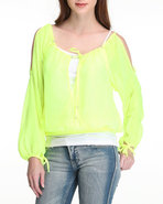 Women Cut Out Smocked Top Yellow Small