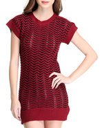 Women Short Sleeve Sweater Dress Red Small