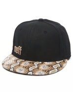 Men Daily Gold Snake Snapback Hat Black
