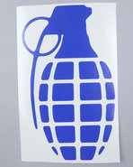 Men Grenade 8.5  Die Cut Sticker Blue