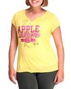 Women Ab Logo Split Neck Tee (Plus) Yellow 1X