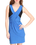 Women Color Block Dress Blue Large