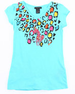 Girls Animal Print Tee (7-16) Light Blue 7 (S)
