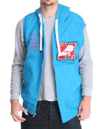 Men French Terry Hoodie Vest W/ Patch Detail Blue