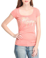 Women Ruched Sides Logo U-Neck Tee Orange X-Large