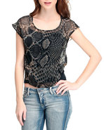 Women Snake Print Mesh Sublimation Top Animal Prin