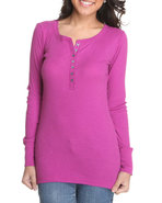 Women Long Sleeve Ribbed Loungewear Top Purple Med