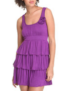 Women Ruffle Tiered Sun Dress W/ Flowers Purple Sm