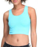 Women Seamless H-Back Crop Top Light Blue Small/Me