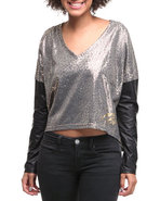 Women Vneck Pu Leather Sleeve Top Grey Small