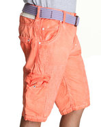 Men Spray Washed Cargo Shorts Orange 38