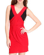 Women Color Block Dress Black Large