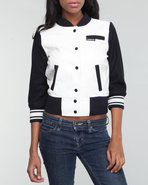 Women Members Only Varsity Jacket Navy Large