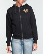 Women Heart On Her Sleeve Hoodie Black Medium