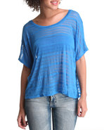 Women Stripe Knit Top Blue Large