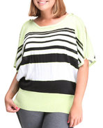 Women Striped Cold Shoulder Top (Plus) Yellow 1X