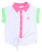 Girls Neon Tie Front Top (7-16) White 14/16 (L)