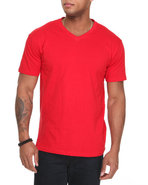 Men V-Neck Tee Red X-Large