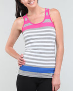 Women Stripe Tank Top Grey Medium