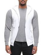 Men French Terry Sleeveless Zup Up Hoodie White Me