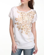 Women Fabric Mix Fashion Tunic Tee Ivory Small