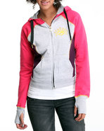 Women Color Block Hoodie Pink Medium