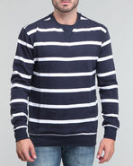 Men Fleece Striped Crew Neck Shirt Navy Xx-Large