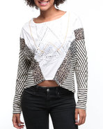 Women Mixed Fabric Printed Stripe Dolman Top Cream