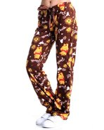 Women Fleece Pooh Lounge Pants Brown Small