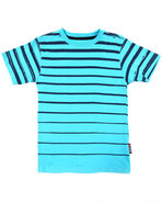 Boys Printed Stripe Crew Neck Tee (4-7) Light Blue