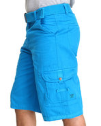 Men Frontier Oxford Belted Cargo Short Light Blue