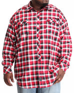 Men L/S Herringbone Check Button-Down (B&T) Red 4X