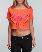 Women Repeat Print Crop Top Red X-Large