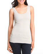 Women Seamless Double Scoop Tank Top Tan Small/Med