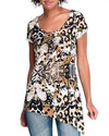 Women Prey For Me Asymmetrical Mixed Print Tee Ani