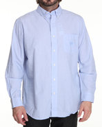 Men Solid L/S Button Down Blue Medium