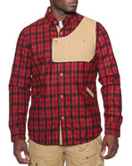 Men Urbaneer Flannel Button-Down Shirt Jacket Red