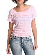 Women Short Sleeve Knit Stripe Top Light Pink Larg