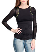 Women Mesh Racer Top Black Small